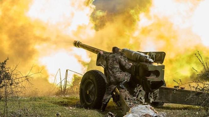 Pháo binh Syria khai hỏa diệt Hồi giáo cực đoan. Ảnh minh họa Masdar News