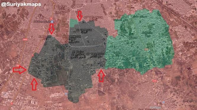Các mũi tiến công của quân đội Syria vào khu vực trại Yarmouk. Anh South Front