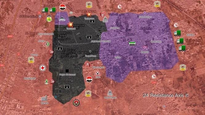 Bản đò khu vực Trại tị nạn Yarmouk tính đến ngày 30.04.2018, ảnh South Front