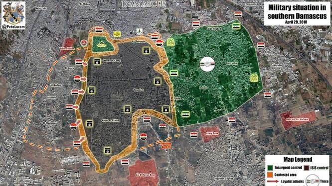 Tổng quan tình hình khu vực các quận phía nam bị IS chiếm đóng. Ảnh Masdar News