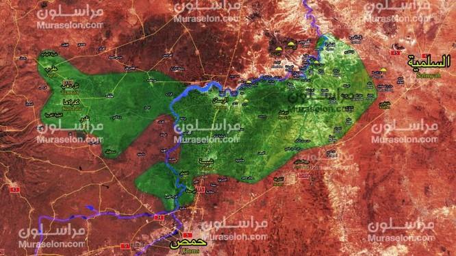 Bản đồ khu vực Rastan tỉnh Homs - ảnh Muraselon
