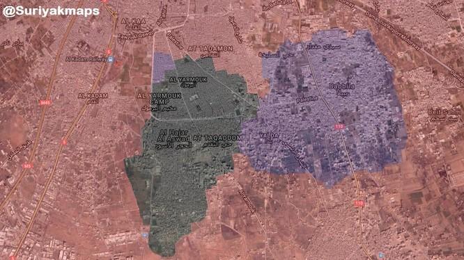 Bản đồ tình hình chiến sự khu vực Yarmouk, ảnh minh họa SANA