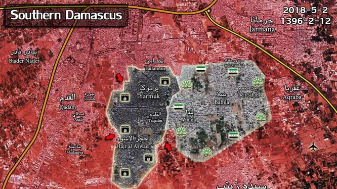 Tình hình chiến sự khu phố Al-Alaf, quận Hajar Al-Aswad nói riêng và khu vực Yarmouk phía nam Damascus, ảnh minh họa South Front