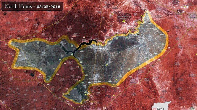 Bản đồ phân bổ lực lượng Hồi giáo cực đoan nổi dậy ở Rastan. ảnh Muraselon