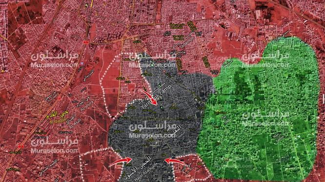 Những hướng tấn công chính trên khu vực Yarmouk, phía nam thành phố thủ đô Damascus. Ảnh Muraselon