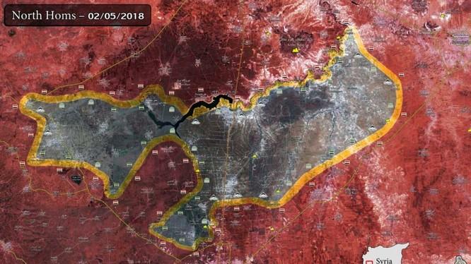 Bản đồ tình hình chiến sự tỉnh Homs. Ảnh Masdả News