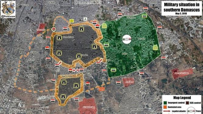 Tình hình chiến sự quận trại Yarnouk, ngoại ô phía nam Damascus. Anh Masdr News
