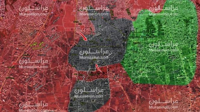Quận đội Syria chia tách khu vực Yarmouk thành 2 khu vực bị bao vây. Ảnh Muraselon