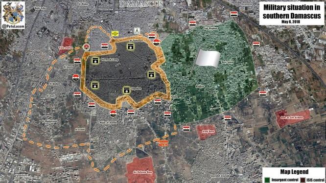 Tỉnh hình chiến sự quận ngoại ô Yarmouk. Ảnh minhh họa Masdar News