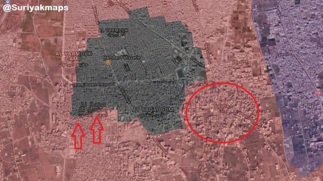 Các mũi tiến công của quân đội Syria trong khu vực quận Yarrmouk ngày 07.03.2018. Ảnh South Front