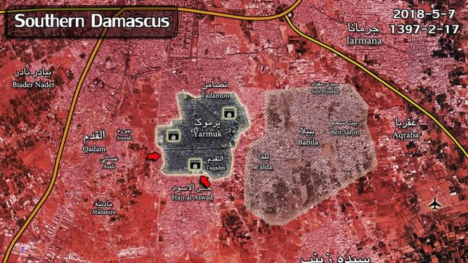 Quân đội Syria tấn công trại tị nạn Yarmouk. Bản đồ Masdar Nes