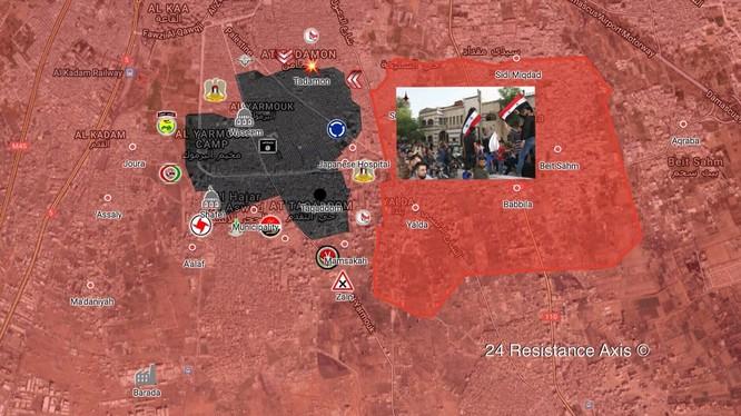 Các đơn vị quân đội Syria, Palestine và quân tình nguyên SSNP siết chặt vòng vây quận Yarrmouk