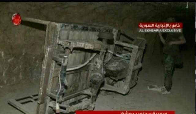 Đường hầm Đông Ghouta, cửa ngõ hai Ghouta ở Damascus, ảnh minh họa video Alikhbaria Syria