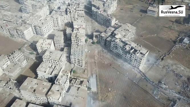Toàn cảnh khu vực quận Hajar Al-Aswad và quận Yarmouk. Ảnh minh họa Masdar News