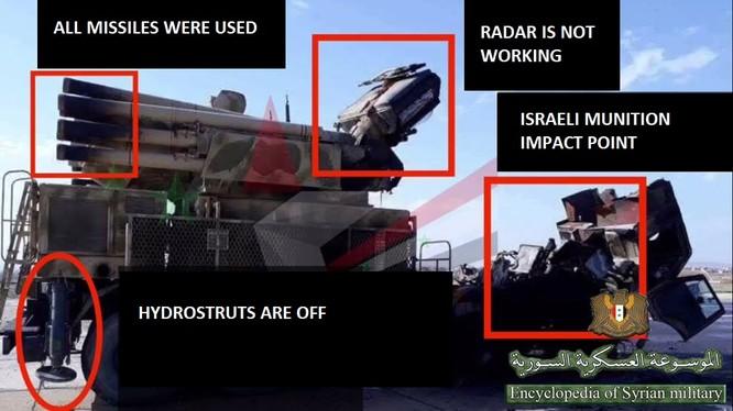 Toàn cảnh chiếc Pantsir -1S bị tên lửa Syria phá hủy ngày 10.05.208. Ảnh Từ điển Bách khoa quân sự facebook.com/Encyclopedia.of.Syrian.militar.