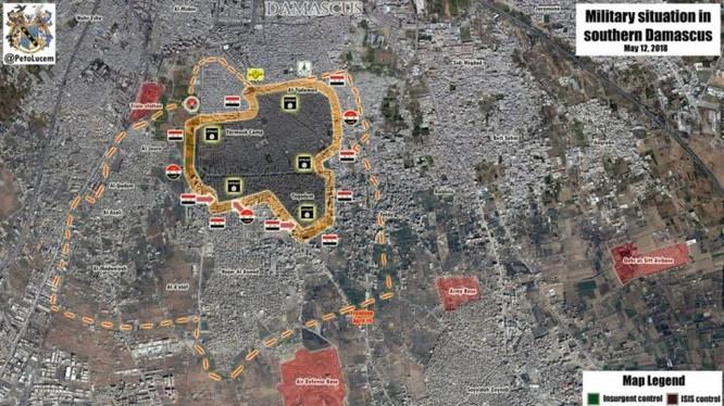 Bản đồ khu vực Nam Yarmouk tính đến ngày 12.05.2018 theo South Front