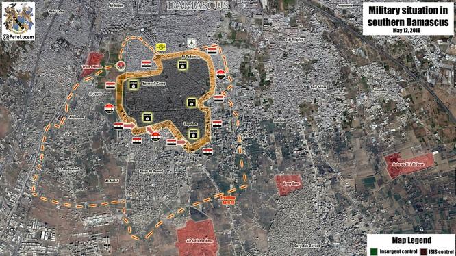 Tổng quan tình hình chiến sự trong quận Yarrmouk. Ảnh ShouFront