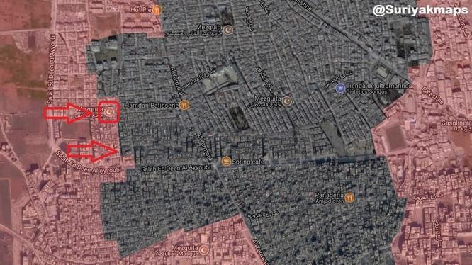 Các mũi tiến công của quân đội Syria trong quận Yarmouk. Ảnh minh họa South Front
