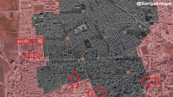 Quân đội Syria tấn công chia cắt quận Yarmouk, chuẩn bị quét sạch các tay súng IS. Bản đồ South Front