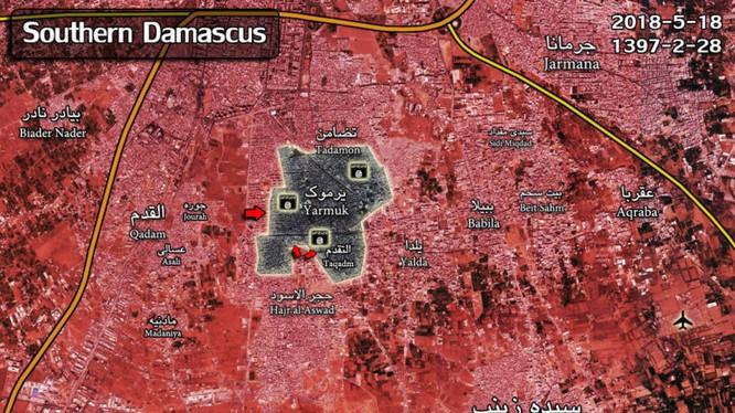 Toàn cảnh chiến trường khu vực các quận Yarrmourk, ngoại ô phía nam Damascus. Ảnh South Front
