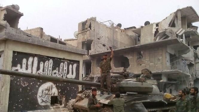 Binh sĩ lực lượng vũ trang Syria trong khu vực các quận Yarrmouk. Ảnh minh họa Muraselon