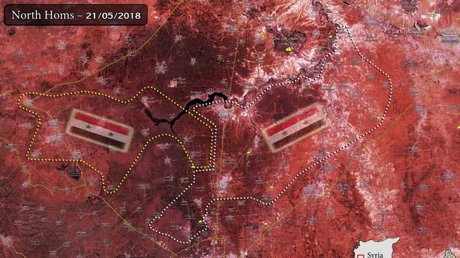 Bản đồ khu vực Rastan hoàn toàn giải phóng. ảnh Masdar News