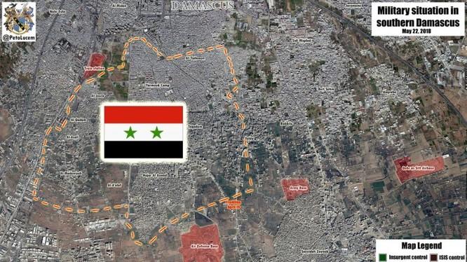 Quận Yarrmouk hoàn toàn giải phóng. Ảnh Masdar News