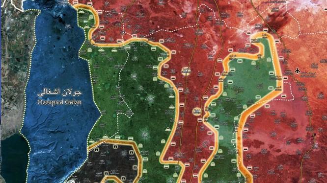 Bản đồ tình hình chiến sự Daraa. Bản đồ mình họa của South Front