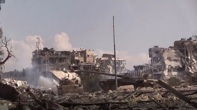 Toàn cảnh khu vực các quận Yarmouk vừa giải phóng. Ảnh Video kênh Ruptly