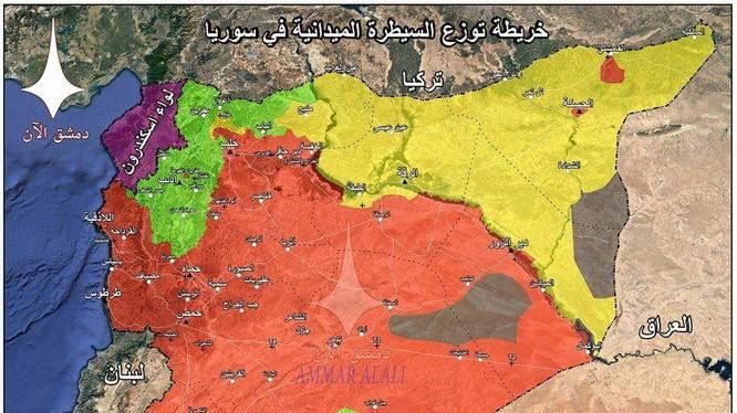 Bản đồ toàn cảnh Syria sau khi giải phóng Rastan và Yarmouk. Bản đồ Masdar News