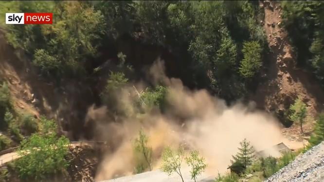 Bình nhưỡng phá hủy bãi thử hạt nhân Punggye-ri.Ảnh SkyNews