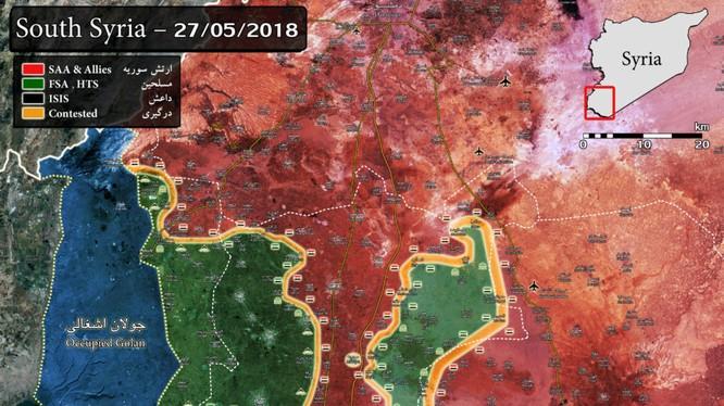 Tình hinh phân bổ lực lượng trong khu vực tỉnh Daraa và Al-Quneitra. Bản đồ South Front
