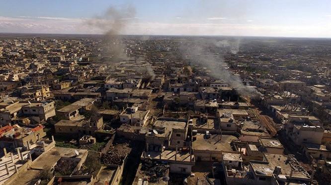 Thành phố Daraa sau ngày di tản lực lượng Hồi giáo cực đoan. Ảnh minh họa Masdar News