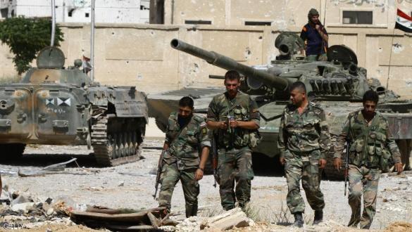 Binh sĩ quân đội Syria trên vùng ngoại ô Damascus. ảnh minh họa Masdar News