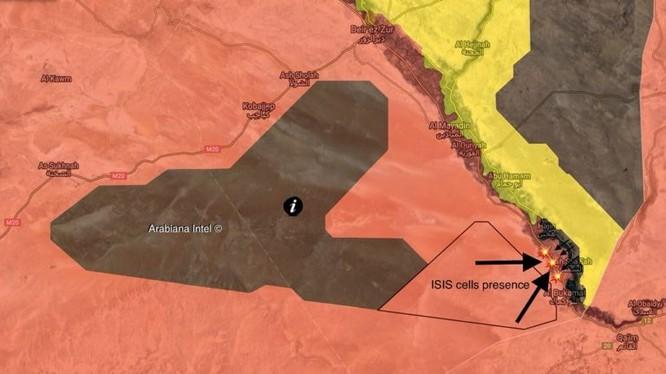 Các mũi tiến công của IS đánh vào thành phố Abukamal. Ảnh South Front