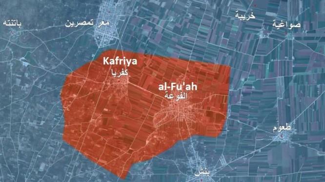 Bản đồ các thị trấn al-Fu'ah và Kafriya bị bao vây ở Idlib