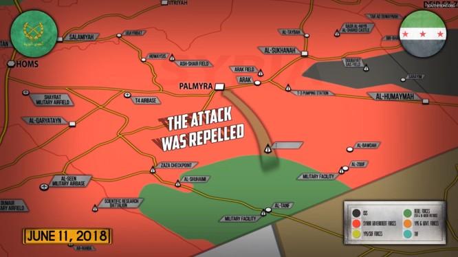 Tình hình chiến sự ngày 12.06.2018 theo South Front. Ảnh minh họa video