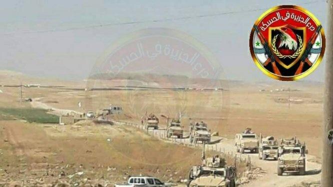 Trạm kiểm soat quân sự Syria chặn đường hành quân của đoàn xe quân sự Mỹ. Anh Muraselon