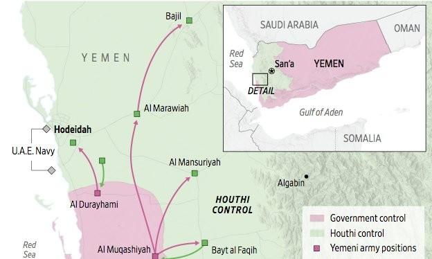 Bản đồ chiến dịch tấn công của liên minh quân sự do Ả rập Xê út dẫn đầu. Ảnh South Front