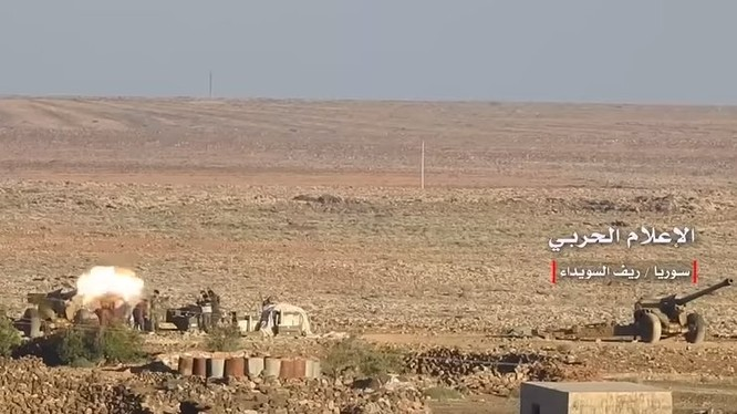 Lực lượng pháo binh quân đội Syria ở Sweida. Ảnh South Front