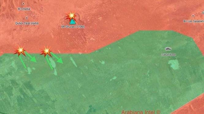 Bản đồ thực tế cuộc tiến công của FSA vào quân đội Syria trên vùng ngoại vi thị trấn Á-Tanf. Ảnh minh họa quân đội Syria