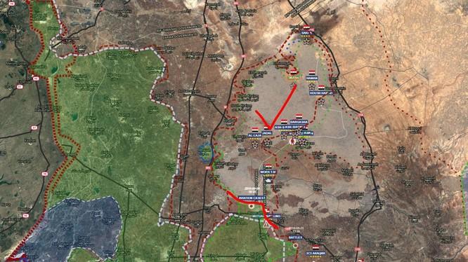 Quân đội Syria đã giải phóng quận Lajat sau 4 ngày tiến công liên tiếp. Ảnh South Front