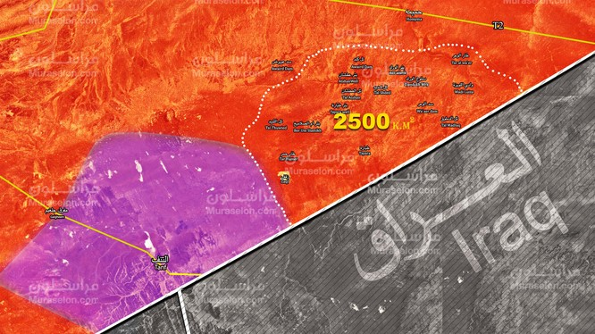 Những khu vực sa mã được quân đội Syria truy quét trong cuộc tấn công phía đông tỉnh Homs. Ảnh Muraselon