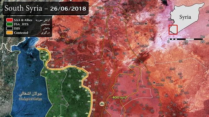 Bản đồ tình hình chiến sự Daraa tính đến ngày 26.06.2018, theo South Front