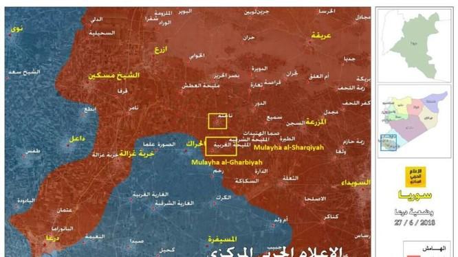 Toàn cảnh chiến trường Daraa, tính đến ngày 27.06.2018 theo South Front