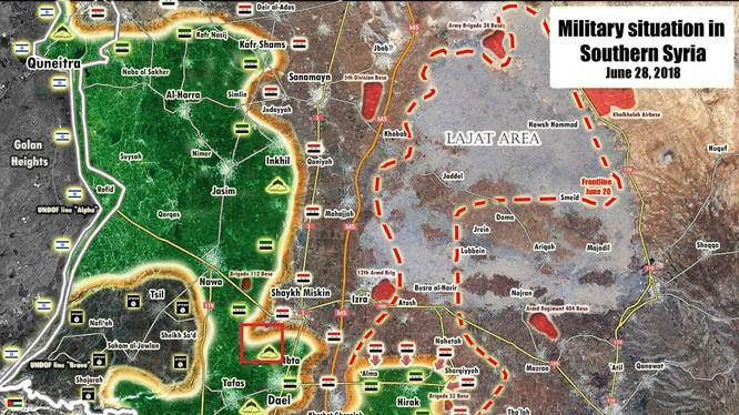 Toàn cảnh chiến tuyến quân sự tỉnh Daraa tính đến ngày 28.05.2018. Ảnh South Front