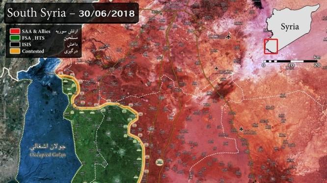 Toàn cảnh chiến trường Daraa tính đến ngày 30.06.2018 theo South Front