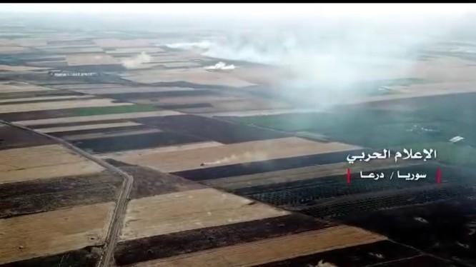 Chiến trường phía đông thành phố Daraa. Ảnh video Hzbollah