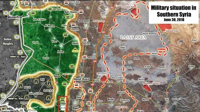 Tình hình chiến sự Daraa tính đến ngày 01.07.2018 theo South Front