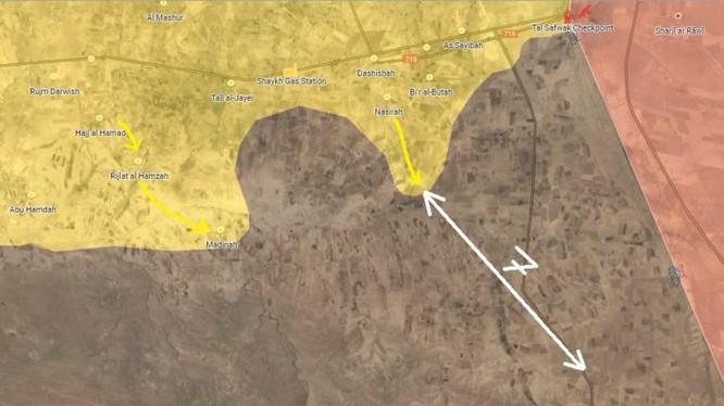 Lực lượng SDF tiến công trên sa mạc phía nam Syria, còn cách căn cứ địa IS gần biên giới Iraq 7 km. Bản đồ South Front